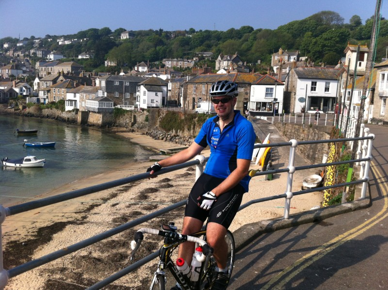 Andy Evans, cycling no the YFM Sponsored ride, day 1, Cornwall.
