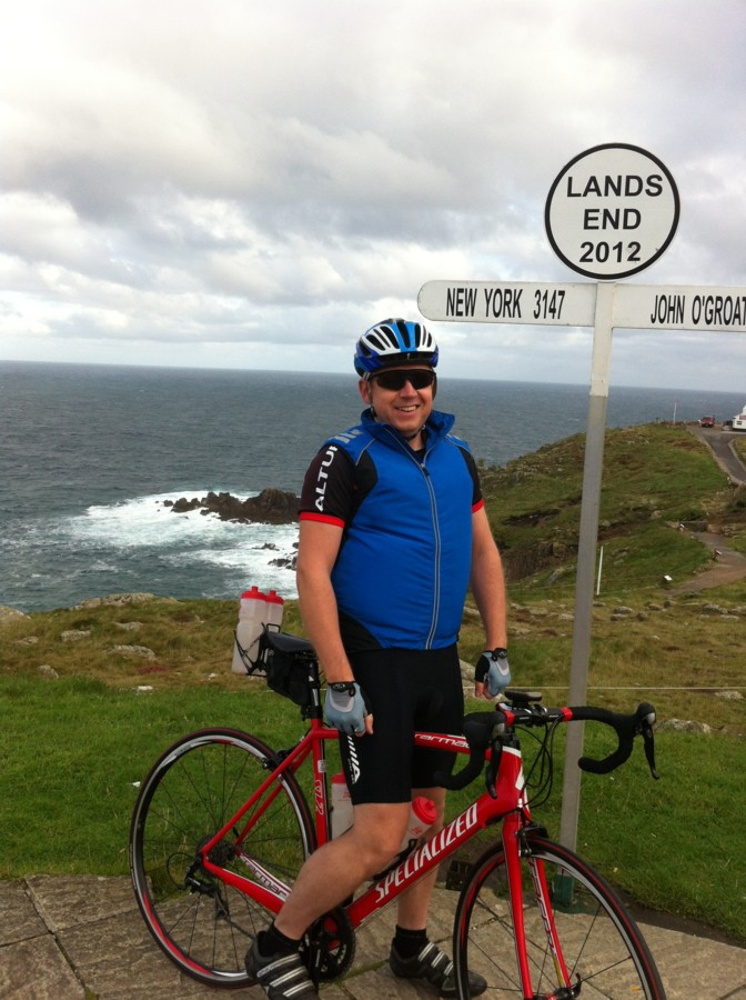 Steve Gordon, lands end (AGAIN!). Windy (AGAIN!). About to cycle to home...